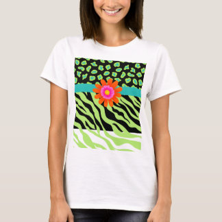 Green, Black & Teal Zebra & Cheetah Orange Flower T-Shirt