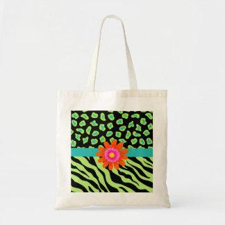 Green, Black & Teal Zebra & Cheetah Orange Flower Tote Bag