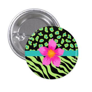 Green, Black & Teal Zebra & Cheetah Pink Flower Button