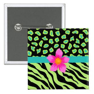 Green, Black & Teal Zebra & Cheetah Pink Flower 2 Inch Square Button