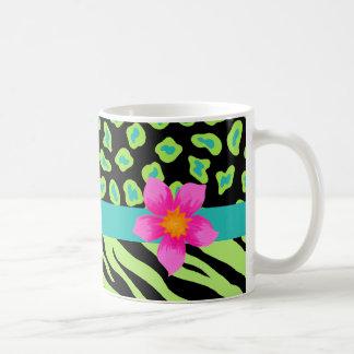 Green, Black & Teal Zebra & Cheetah Pink Flower Classic White Coffee Mug