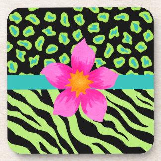 Green, Black & Teal Zebra & Cheetah Pink Flower Drink Coaster