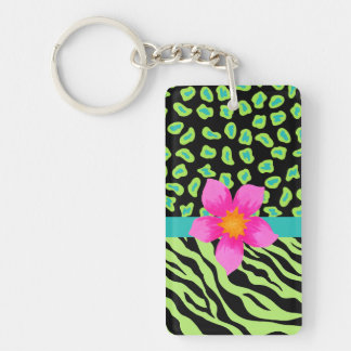 Green, Black & Teal Zebra & Cheetah Pink Flower Double-Sided Rectangular Acrylic Keychain