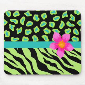 Green, Black & Teal Zebra & Cheetah Pink Flower Mouse Pad
