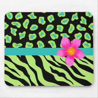 Green, Black & Teal Zebra & Cheetah Pink Flower Mouse Pad