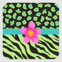 Green, Black & Teal Zebra & Cheetah Pink Flower Square Sticker