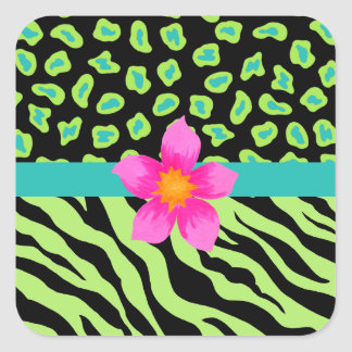 Green, Black & Teal Zebra & Cheetah Pink Flower Square Sticker