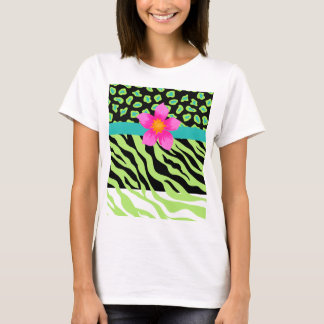 Green, Black & Teal Zebra & Cheetah Pink Flower T-Shirt