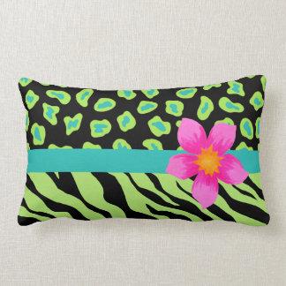 Green, Black & Teal Zebra & Cheetah Pink Flower Throw Pillow