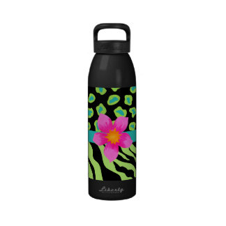 Green Black Teal Zebra Cheetah Pink Flower Water Bottle