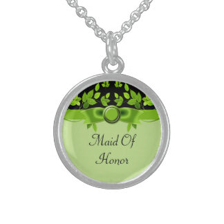 Green & Black Tree Leaves Wedding Round Pendant Necklace