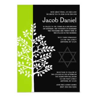 Green Black Tree of Life Bar Mitzvah Invitations