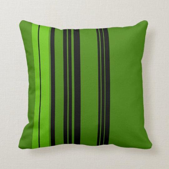 Green, Black Vintage Stripes Art Design Abstract Throw Pillow