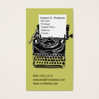 Green-Black Vintage Typewriter Writer Graduate Business Card