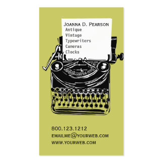 Green-Black  Vintage Typewriter Writer Publisher Double-Sided Standard Business Cards (Pack Of 100)