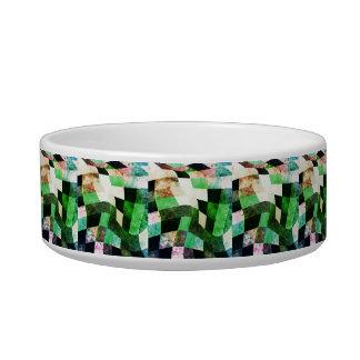 Green & Black Wavy Modern Design Pet Food Bowl