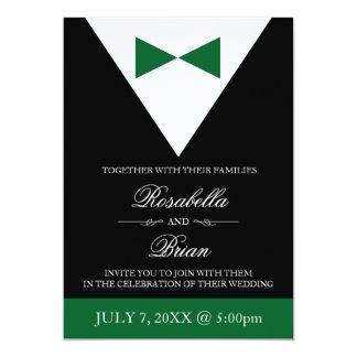 Green & Black Wedding Invitations | Tux & Dress