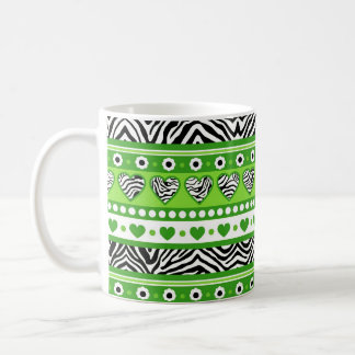 Green black & white abstract zebra hearts and dots coffee mug