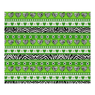 Green black & white abstract zebra hearts and dots poster