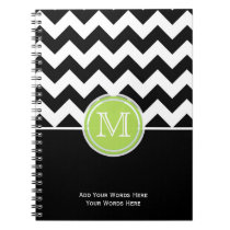 Green Black White Chevron Monogram Notebook