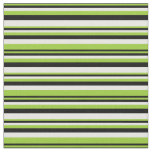 [ Thumbnail: Green, Black & White Colored Lines Fabric ]
