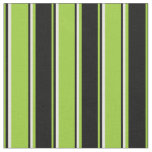 [ Thumbnail: Green, Black & White Colored Stripes Fabric ]