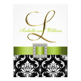 Green Black White Damask Initial L Wedding Invite