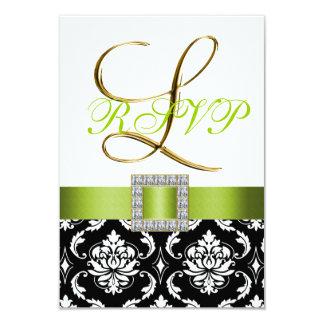 Green Black White Damask Initial L Wedding RSVP Custom Invite