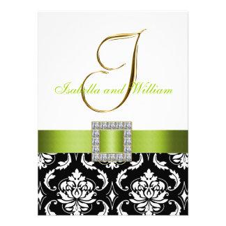 Green Black White Damask Initial Wedding Invite