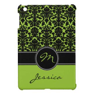 Green, Black, White Damask iPad Mini Case