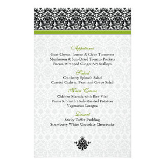 Green, Black, White Damask Menu Card