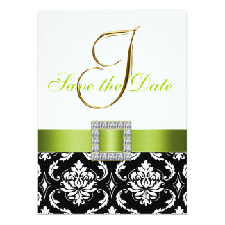 Green Black White Damask Save the Date Card