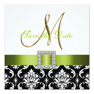 """Green Black White Damask Save the Date Card 5.25"""" Square Invitation Card"""