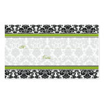 Green, Black, White Damask Wedding Place Cards Business Cards