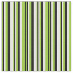 [ Thumbnail: Green, Black & White Lines Fabric ]