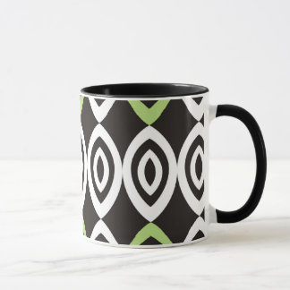 Green Black White Modern Geometric Pattern Mug
