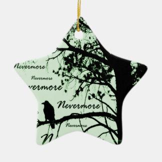 Green Black & White Nevermore Raven Silhouette Ceramic Ornament