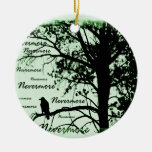 Green Black & White Nevermore Raven Silhouette Double-Sided Ceramic Round Christmas Ornament