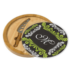 Green Black&White Personalized Flourish Monogram Cheese Platter