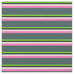 [ Thumbnail: Green, Black, Yellow, Hot Pink & Dark Slate Gray Fabric ]