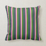 [ Thumbnail: Green, Black, Yellow, Hot Pink & Dark Slate Gray Throw Pillow ]