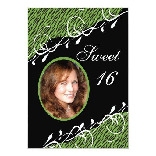 Green & Black Zebra Print Sweet 16 Invitation