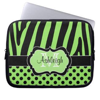 Green Black Zebra Stripes Polka Dots Laptop Case