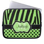 Green Black Zebra Stripes Polka Dots Laptop Case Laptop Sleeve