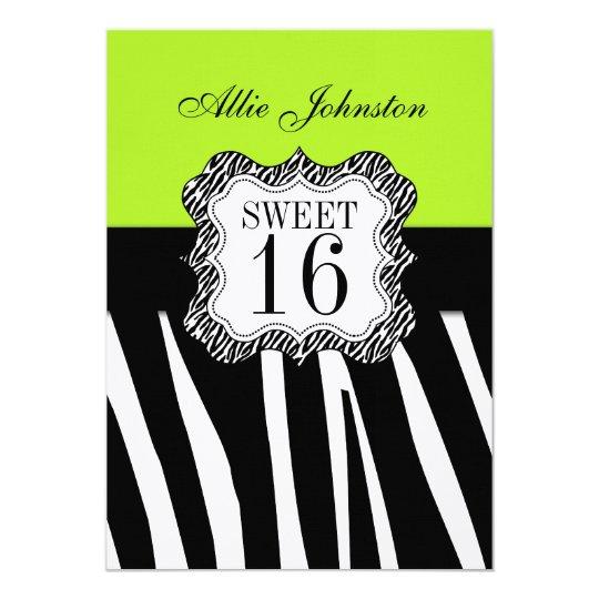 Green Black Zebra Stripes Sweet Sixteen Birthday Card
