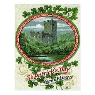 Green Blarney Castle Ireland Shamrock Postcard