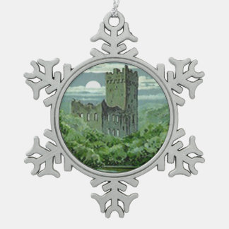 Green Blarney Castle Ireland Shamrock Snowflake Pewter Christmas Ornament