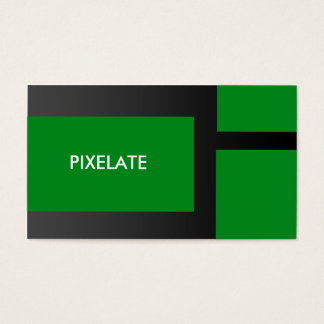 Green block graphic design business cards