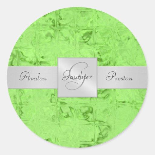 Green Block Ice Monogram Wedding Sticker