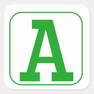 Green Block Letter A Square Sticker